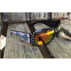 Black Montana West irasdecent sunglasses with light pink and turquoise beaded design on legs. UV400.