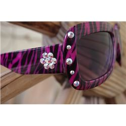 SJ SUNGLASSES ANIMAL PRINT PINK/BLK ZEBRA /pink irridescent  crystals on sides of front and on arms