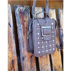 BEIGE CRYSTAL CROSS BODY WALLET/PURSE/has one  adjustable long strap and one short handbag strap/has