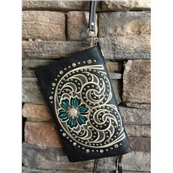 Montana West black and teal wallet messenger with large clear western bling concho. Single long deta