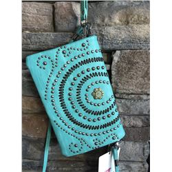 Montana West mint green/studded wallet messenger with small western concho. Single long detachable s
