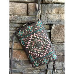 Montana dark brown/rose and teal design wallet messenger. Single long detachable strap. Short detach