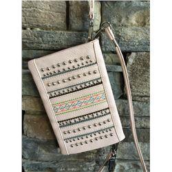 Montana light pink/grey studdedl design wallet messenger.Single long detachable strap. Short detacha