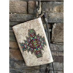 Montana West dark brown and cream/multi cross design wallet messenger . Single long detachable strap