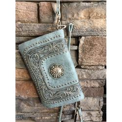 Montana West blue grey/scroll design wallet messenger with large clear western concho. Single long d