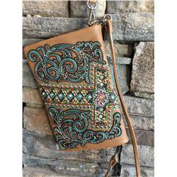 Montana West tan/crossl design wallet messenger with large clear western concho. Single long detacha