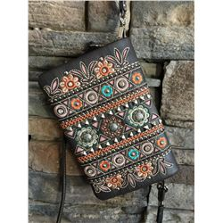 Montana West dark brown/multi color design wallet messenger with 3 small western concho. Single long