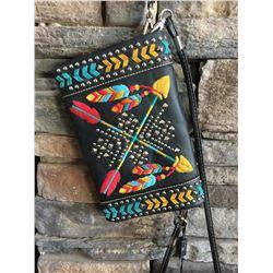 Montana West black/arrow multi color design wallet messenger. Single long detachable strap. Short de