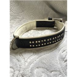 """BLACK AND WHITE DOG COLLAR CLEAR CRYSTALS/LEATHER/16"""" LONG/SIZE SMALL"""