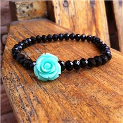BLACK BEADED STRETCH BRACELET WITH MINT GREEN ROSE ACCENT