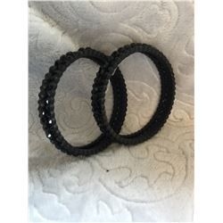 BLACK BLING BANGLES/**HAS MISSING STONE/**HAVE INCLUDED MISSING STONES….COULD MAKE 1 OF THE TWO!!!