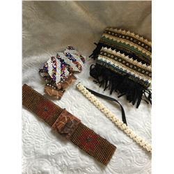 CRAFTERS LOT!!!2 BEADED BELTS****BROKEN BUT CAN USE FOR BEADS! -HAT BAND**BROKEN -BEADED BOOT TOPPER