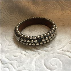 "WOOD SILVER STUDDED CUFF BRACELET/3/4""WIDE***ONE STUD FELL OFF BUT IS INCLUDED**JUST NEED TO GLUE ON"