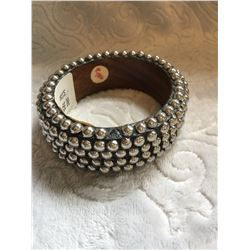 "WOOD SILVER STUDDED CUFF BRACELET/1""WIDE***ONE STUD FELL OFF BUT IS INCLUDED**JUST NEED TO GLUE ON"