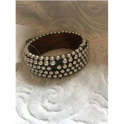 "WOOD SILVER STUDDED CUFF BRACELET/1""WIDE***MISSING A COUPLE OF STUDS **"