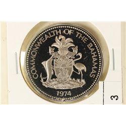 1974 BAHAMAS SILVER DOLLAR PROOF .4466 OZ. ASW