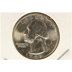1947 WASHINGTON SILVER QUARTER BRILLIANT UNC