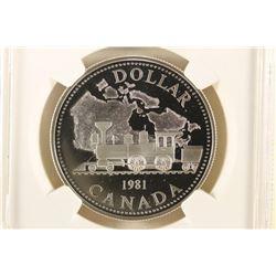 1981 CANADA SILVER DOLLAR TRAN-CANADA RAILWAY