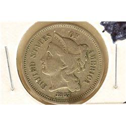 1867 THREE CENT PIECE (NICKEL) (FINE)