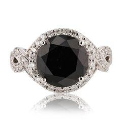 6.33 ctw Fancy Black Diamond and 0.72 ctw Diamond 14K White Gold Ring