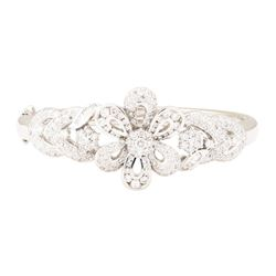 3.60 ctw Diamond Bangle Bracelet - 18KT White Gold