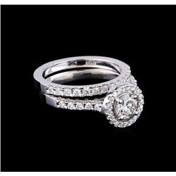 1.23 ctw Diamond Wedding Ring Set - 14KT White Gold