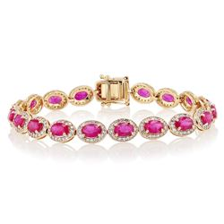 9.19 ctw Ruby and 1.64 ctw Diamond 14K Yellow Gold Bracelet