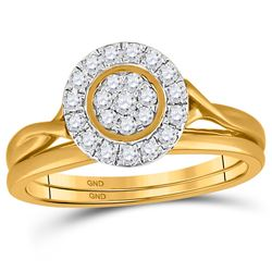 10kt Yellow Gold Round Diamond Cluster Bridal Wedding Engagement Ring Band Set 1/3 Cttw