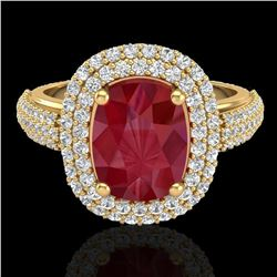 3.50 ctw Ruby & Micro Pave VS/SI Diamond Certified Ring 18k Yellow Gold