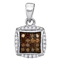 10kt White Gold Round Brown Diamond Square Cluster Pendant 1/4 Cttw