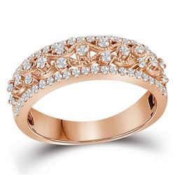 10kt Rose Gold Round Diamond Roped Woven Band Ring 1/2 Cttw