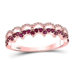 10kt Rose Gold Round Ruby Scalloped Stackable Band Ring 1/4 Cttw