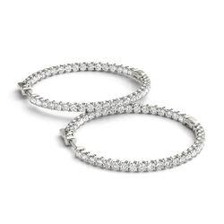 3.5 ctw Diamond VS/SI 35 MM Hoop Earrings 14k White Gold