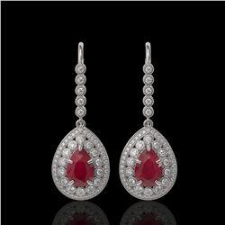 10.15 ctw Certified Ruby & Diamond Victorian Earrings 14K White Gold