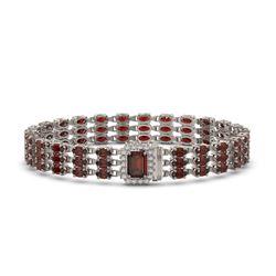 21.51 ctw Garnet & Diamond Bracelet 14K White Gold
