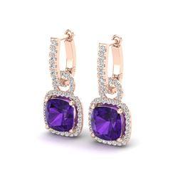7 ctw Amethyst & Micro Pave VS/SI Diamond Earrings 14k Rose Gold
