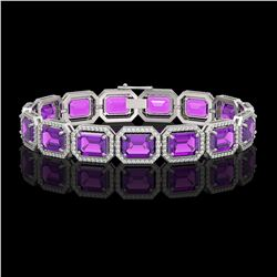 34.86 ctw Amethyst & Diamond Micro Pave Halo Bracelet 10k White Gold