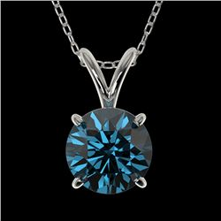 1 ctw Certified Intense Blue Diamond Solitaire Necklace 10k White Gold