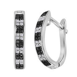 Sterling Silver Round Black Color Enhanced Diamond Hoop Earrings 1/6 Cttw