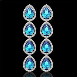10.8 ctw Swiss Topaz & Diamond Micro Pave Halo Earrings 10k White Gold