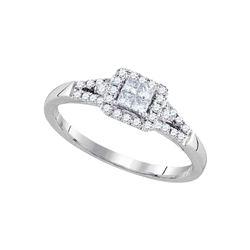 14kt White Gold Princess Diamond Square Frame Cluster Ring 1/3 Cttw