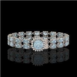 17.67 ctw Sky Topaz & Diamond Bracelet 14K White Gold