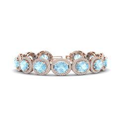 23 ctw Aquamarine & Micro Pave VS/SI Diamond Bracelet 10k Rose Gold