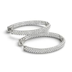 3.65 ctw Diamond VS/SI 31 MM Hoop Earrings Pave 14k White Gold