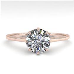 1.0 ctw Certified VS/SI Diamond Ring Vintage 14k Rose Gold