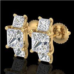 3.08 ctw Princess VS/SI Diamond Art Deco Stud Earrings 18k Yellow Gold