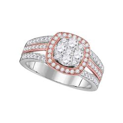 14kt Two-tone Gold Round Diamond Cluster Bridal Wedding Engagement Ring 1.00 Cttw