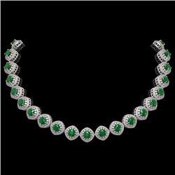 82.17 ctw Emerald & Diamond Victorian Necklace 14K White Gold