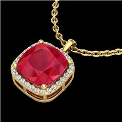 6 ctw Ruby & Micro Pave Halo VS/SI Diamond Necklace 18k Yellow Gold