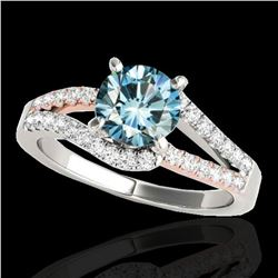 1.65 ctw SI Certified Blue Diamond Solitaire Ring 10k 2Tone Gold